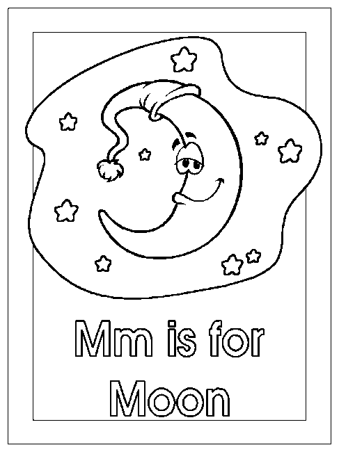 m is for moon coloring page coloring activity pages quotmm is for moonquot coloring page is moon for coloring page m