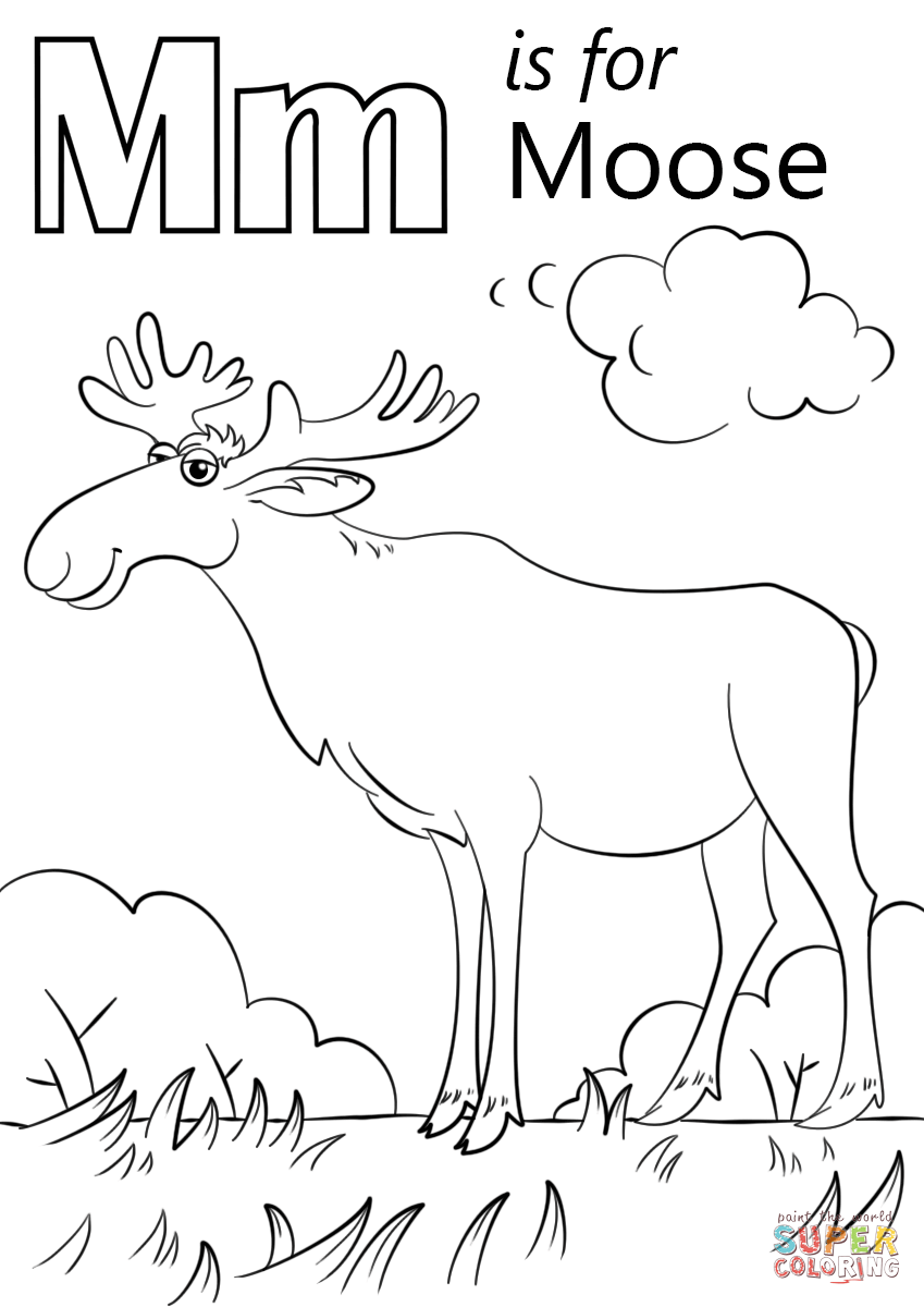 m is for moon coloring page letter m is for moose coloring page free printable m moon coloring is for page
