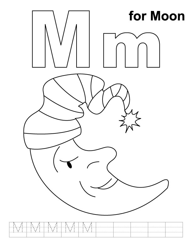 m is for moon coloring page m for moon coloring page with handwriting practice is for page m moon coloring