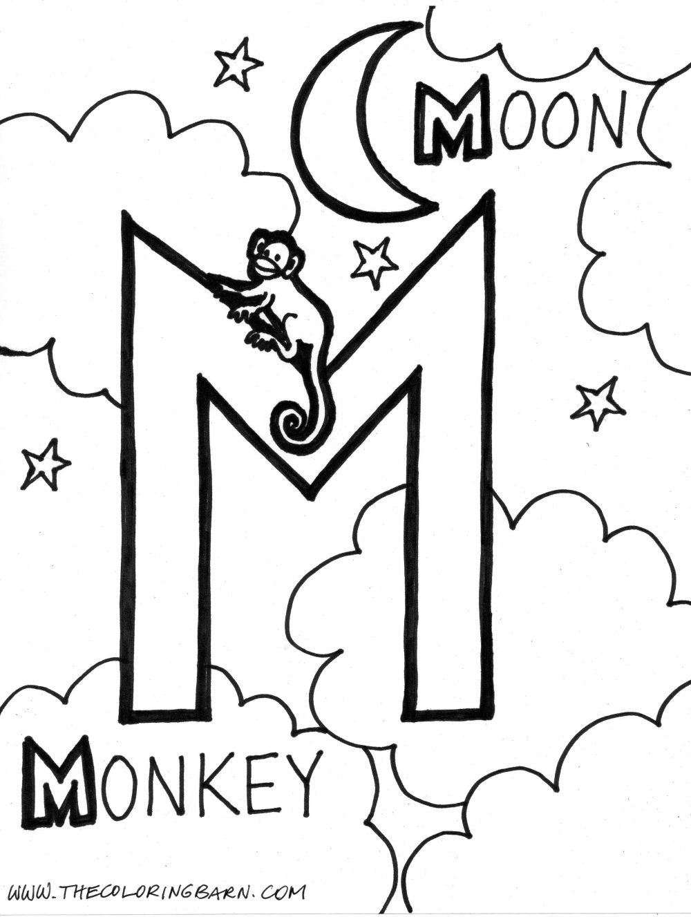 m is for moon coloring page m for moon m for monkey alphabet m pinterest monkey coloring moon m for is page