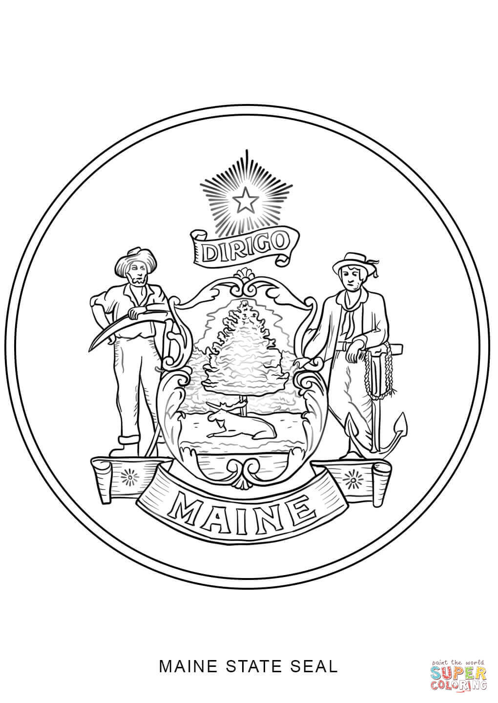 maine state flag coloring page lovely maine state seal coloring page top free printable maine flag state page coloring