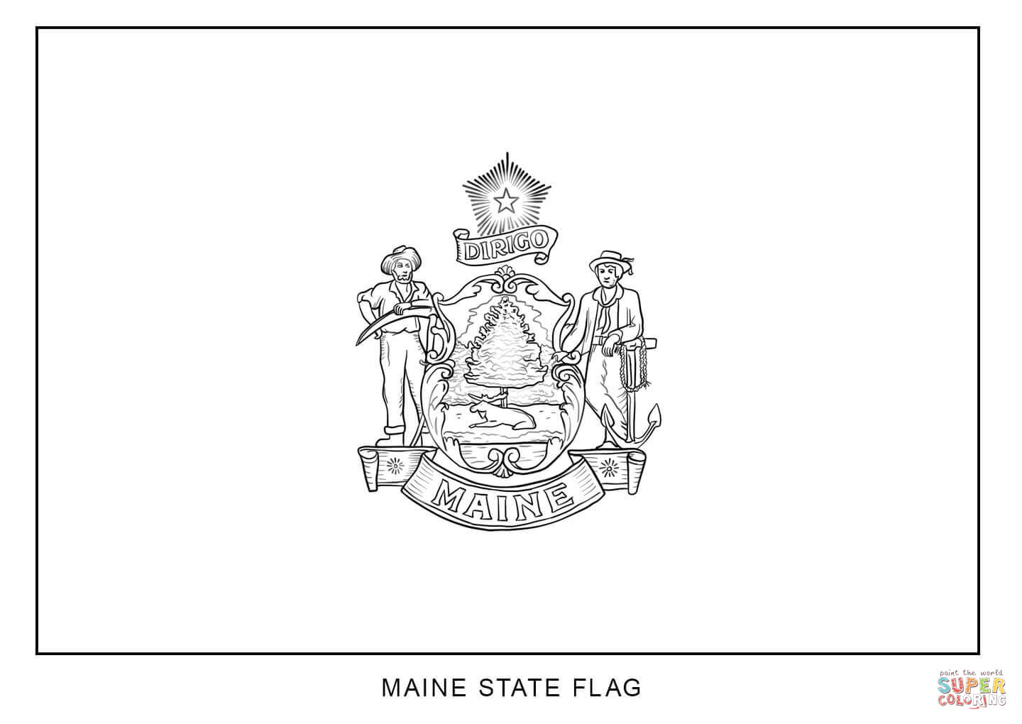 maine state flag coloring page maine state flag coloring page color luna state flag maine coloring page