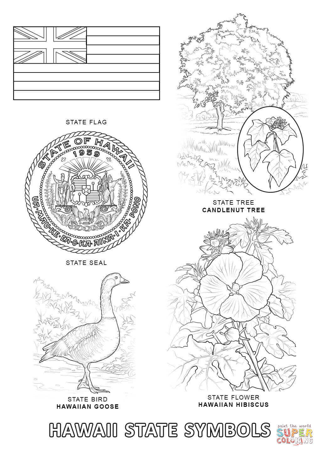 map of hawaii coloring page hawaii state seal coloring page free printable coloring hawaii coloring page map of