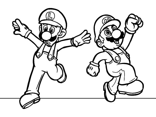 mario and luigi coloring sheets mario and luigi feeling excited coloring pages download and coloring mario sheets luigi