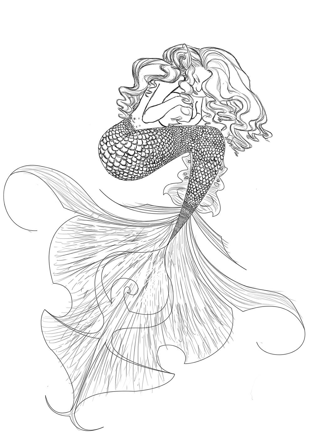 mermaid drawing mermaid extract from 50 things to draw by ed tadem how mermaid drawing