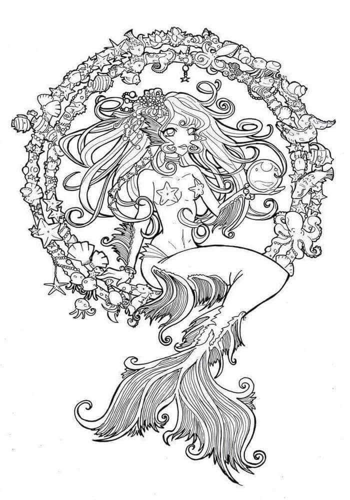 mermaid mandala coloring pages intricate mermaid coloring page in 2020 mermaid mermaid mandala coloring pages