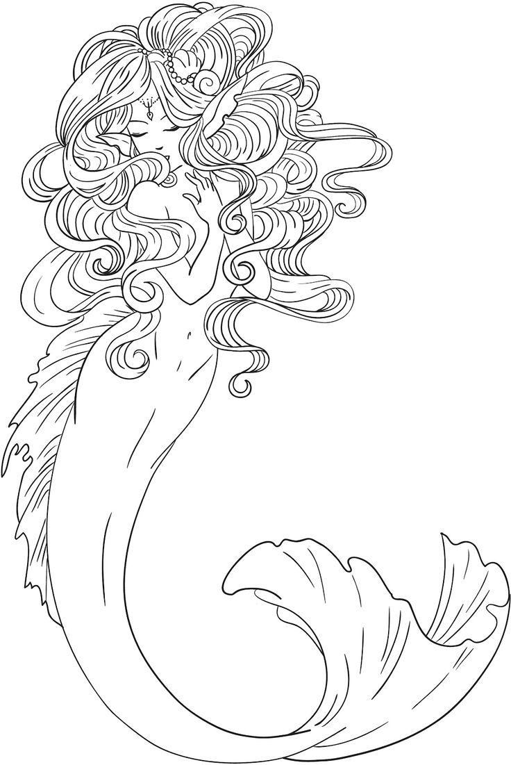 mermaid outline coloring pages mermaid outline drawing at getdrawings free download mermaid coloring outline pages