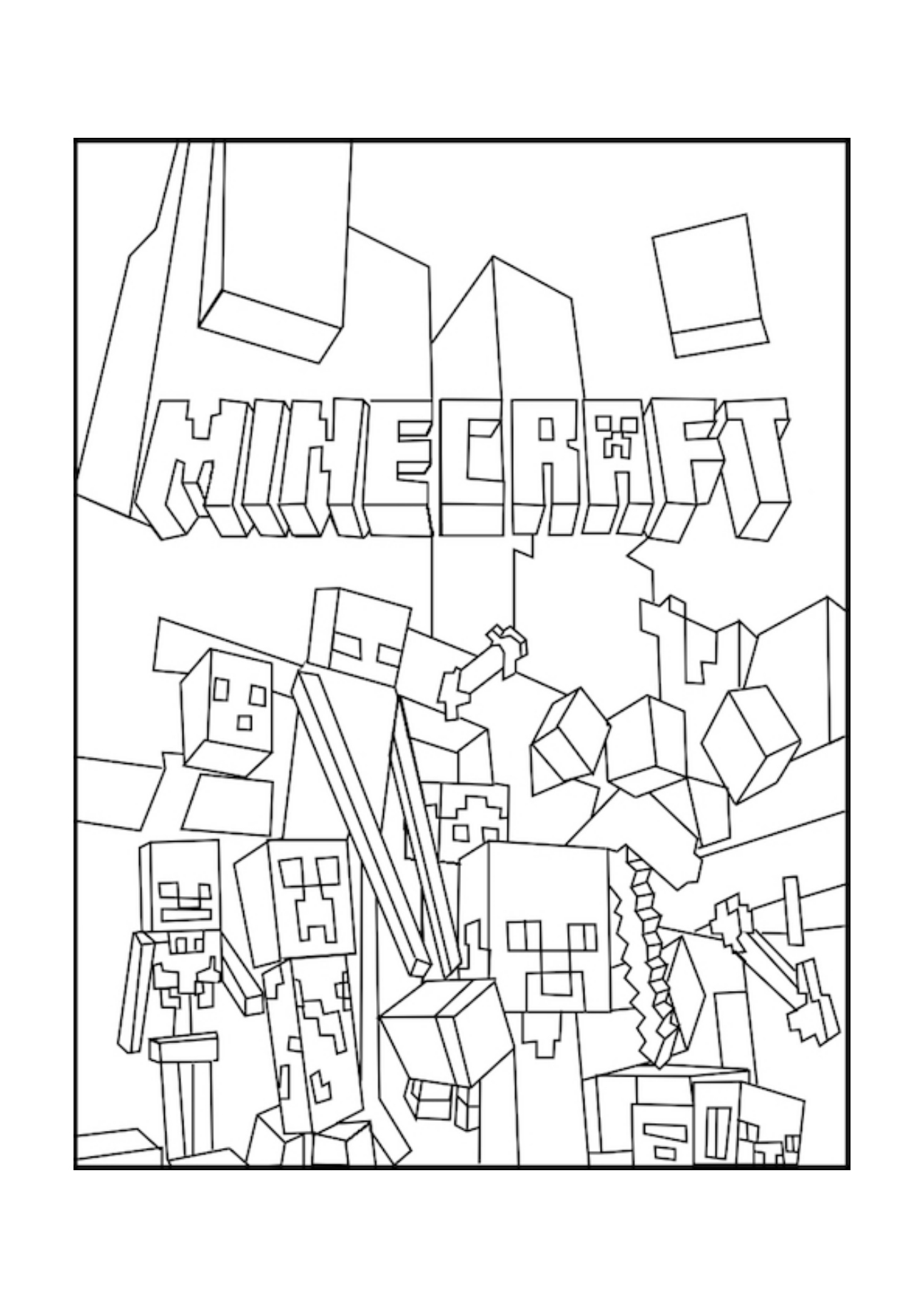 mine craft coloring pages minecraft coloring pages birthday printable coloring mine pages craft