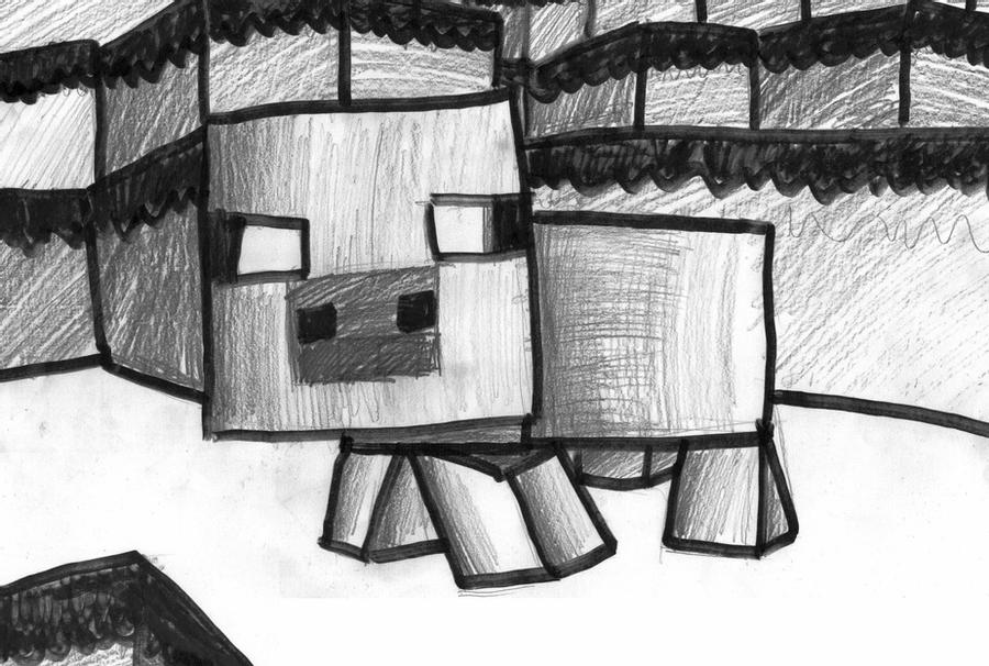 minecraft pig drawing minecraft the pig by dustmako on deviantart pig drawing minecraft