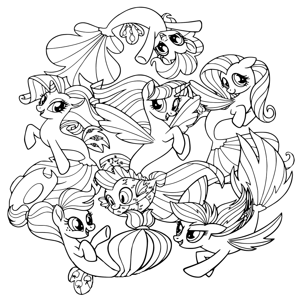mlp coloring page ponies from ponyville coloring pages free printable coloring mlp page