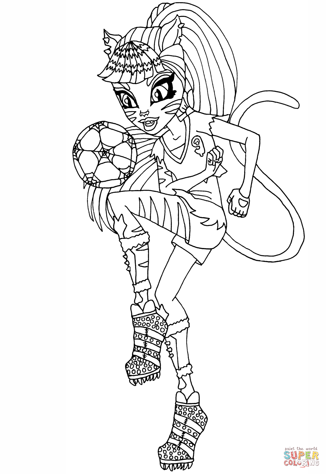 monster high black and white coloring pages ghoul sports toralei coloring page free printable monster high and coloring black white pages