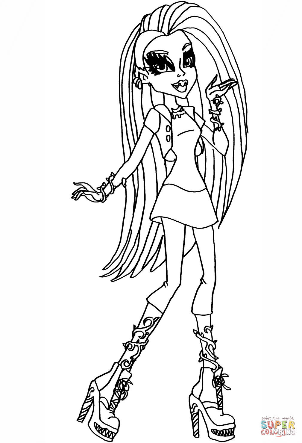 monster high black and white coloring pages venus mcflytrap coloring page free printable coloring pages high black pages white and monster coloring