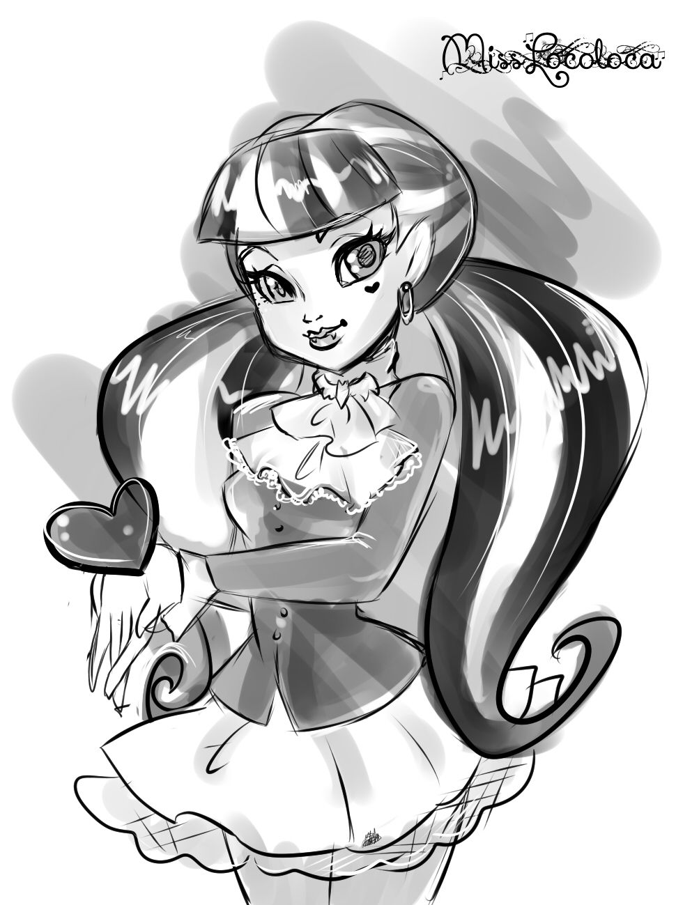 monster high drawing pictures draculaura bw by elfkena on deviantart high drawing pictures monster