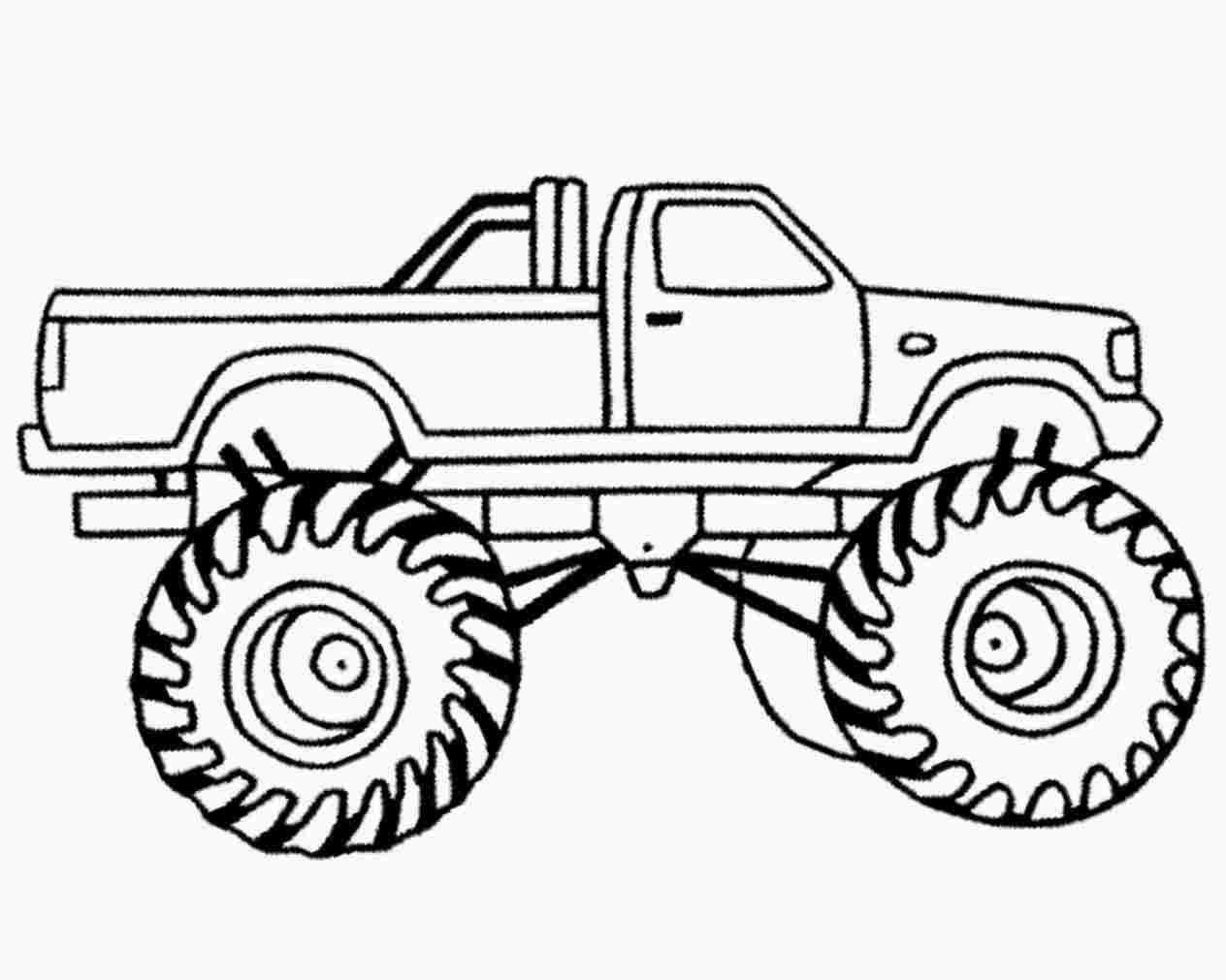 monster truck coloring pages easy pickup truck outline drawing at getdrawings free download coloring monster easy truck pages