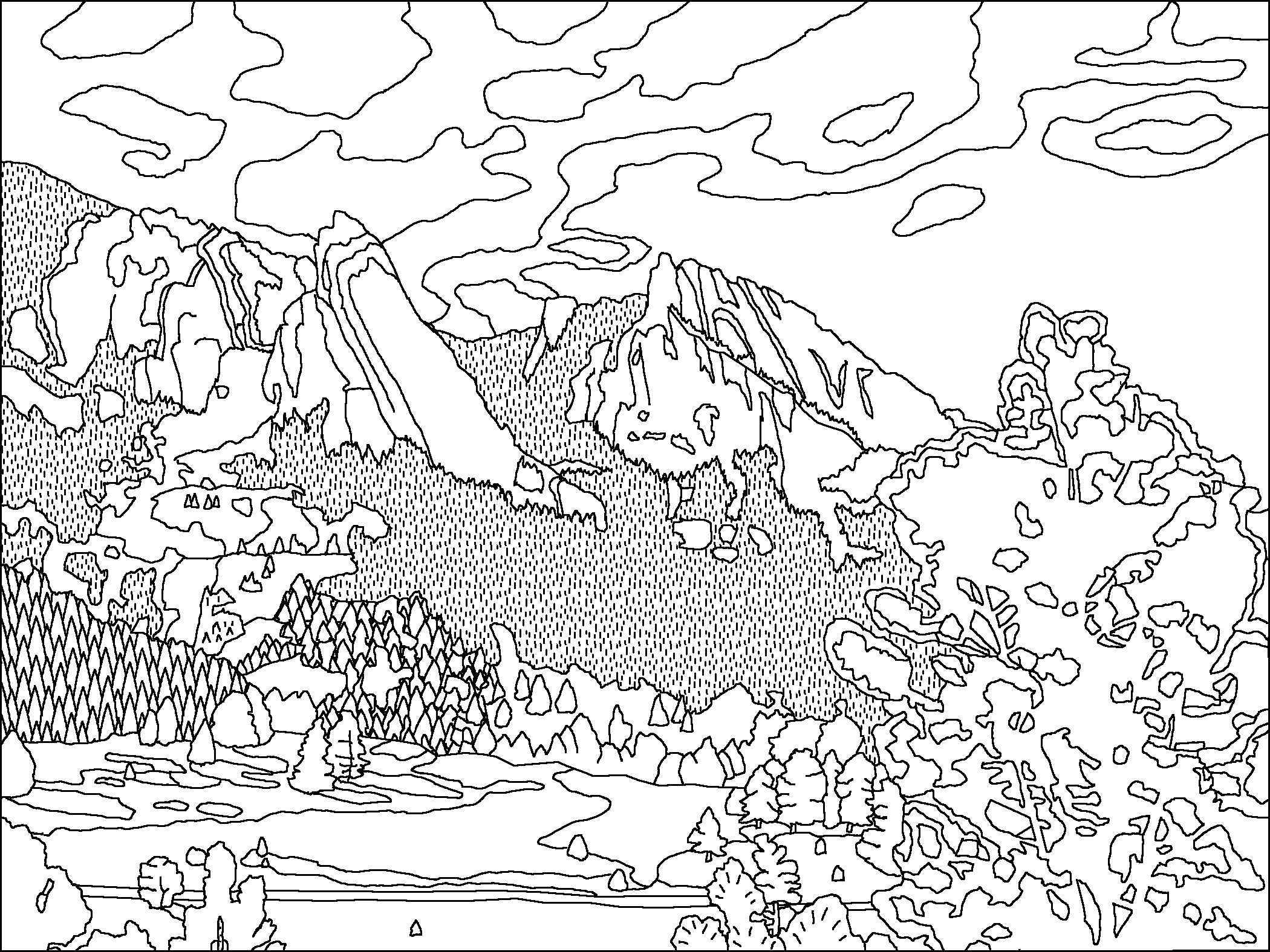 mountain pictures to color mountain scenery drawing at getdrawings free download pictures mountain to color