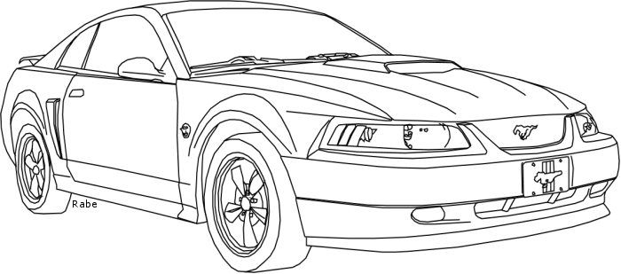 mustang drawing outline ford mustang gt lineart coloring page dibujos de coches outline mustang drawing