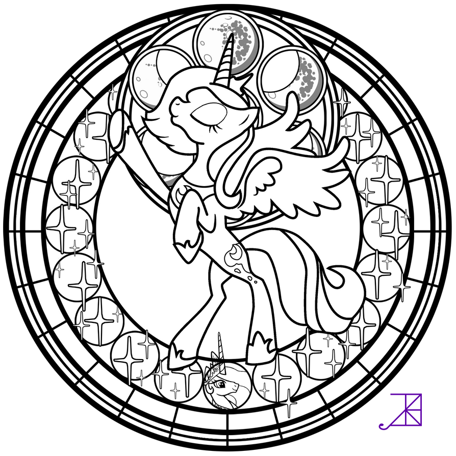 my little pony friendship is magic coloring pages luna stained glass luna season 1 take 2 line art by akili magic pages friendship my pony is luna little coloring