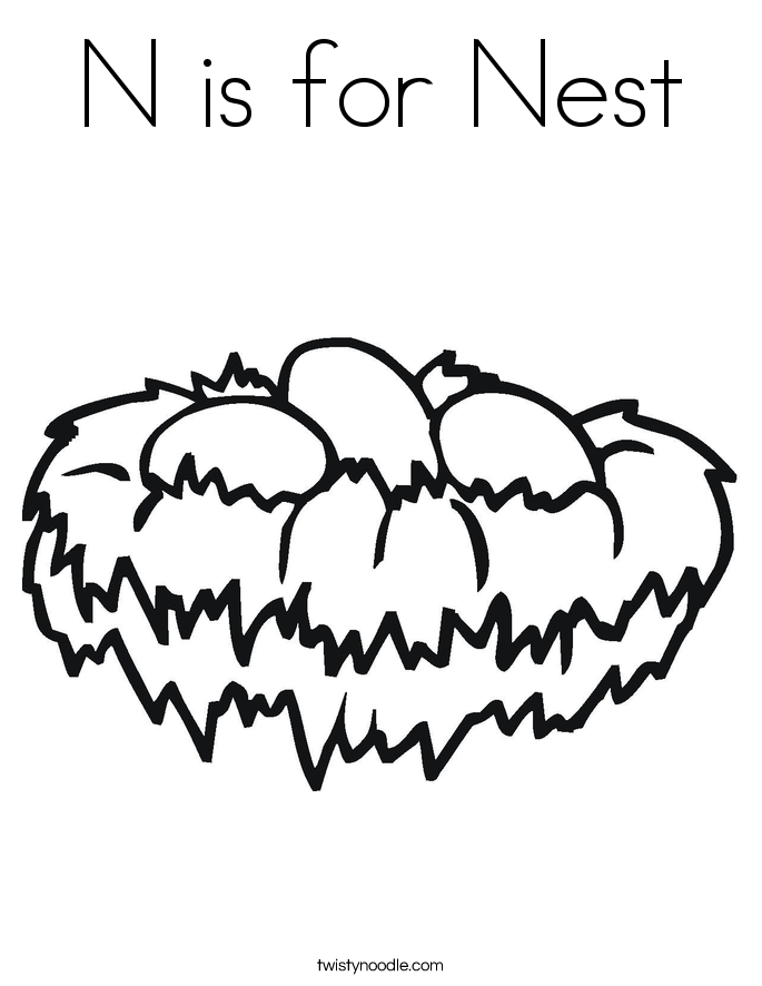 n is for coloring page n is for nest coloring page twisty noodle is for coloring n page