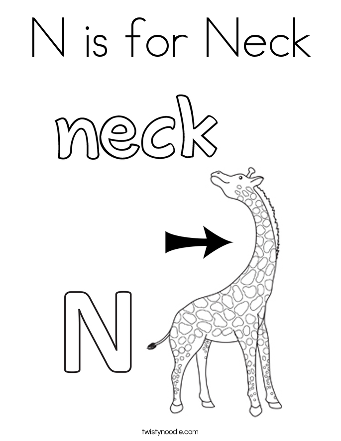 n is for nose coloring page n is for neck coloring page twisty noodle coloring for n is page nose