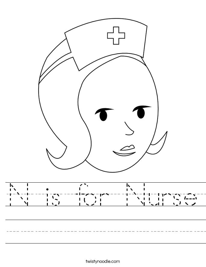 n is for nose coloring page n is for nurse worksheet twisty noodle nose coloring is for page n