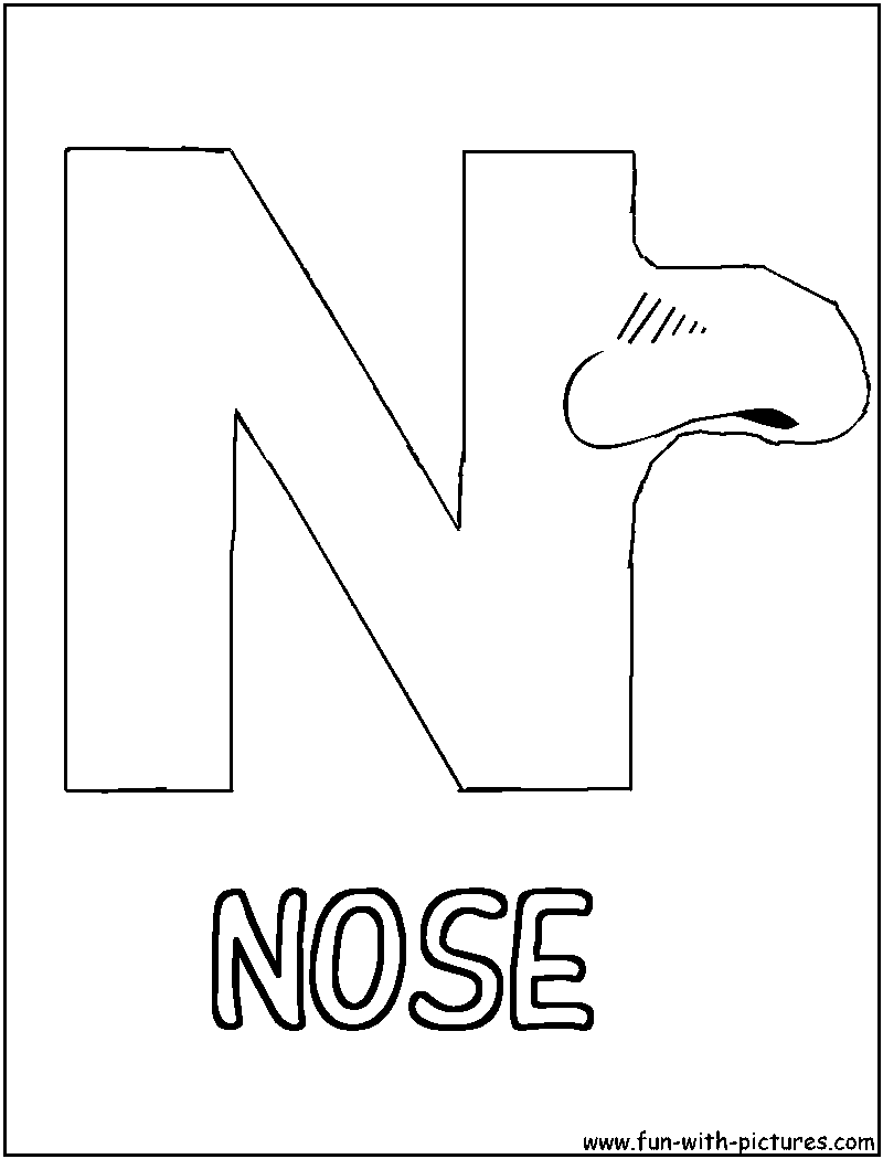 n is for nose coloring page picture alphabets n coloring page is n nose for page coloring