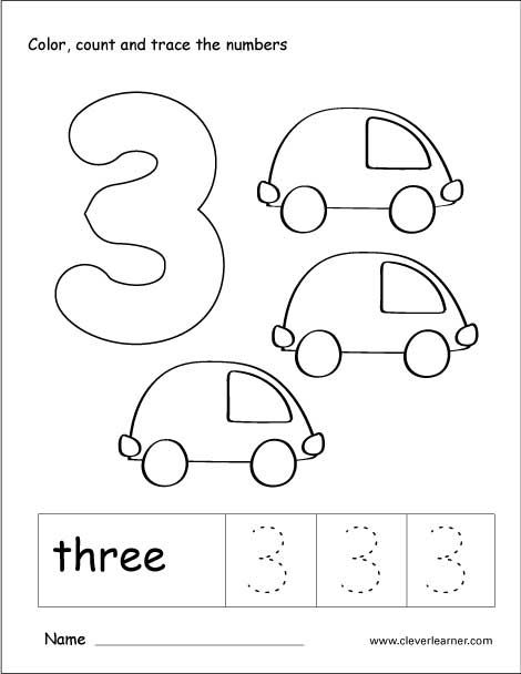 number 3 coloring pages preschool number 3 tracing and colouring worksheet for kindergarten preschool 3 pages coloring number