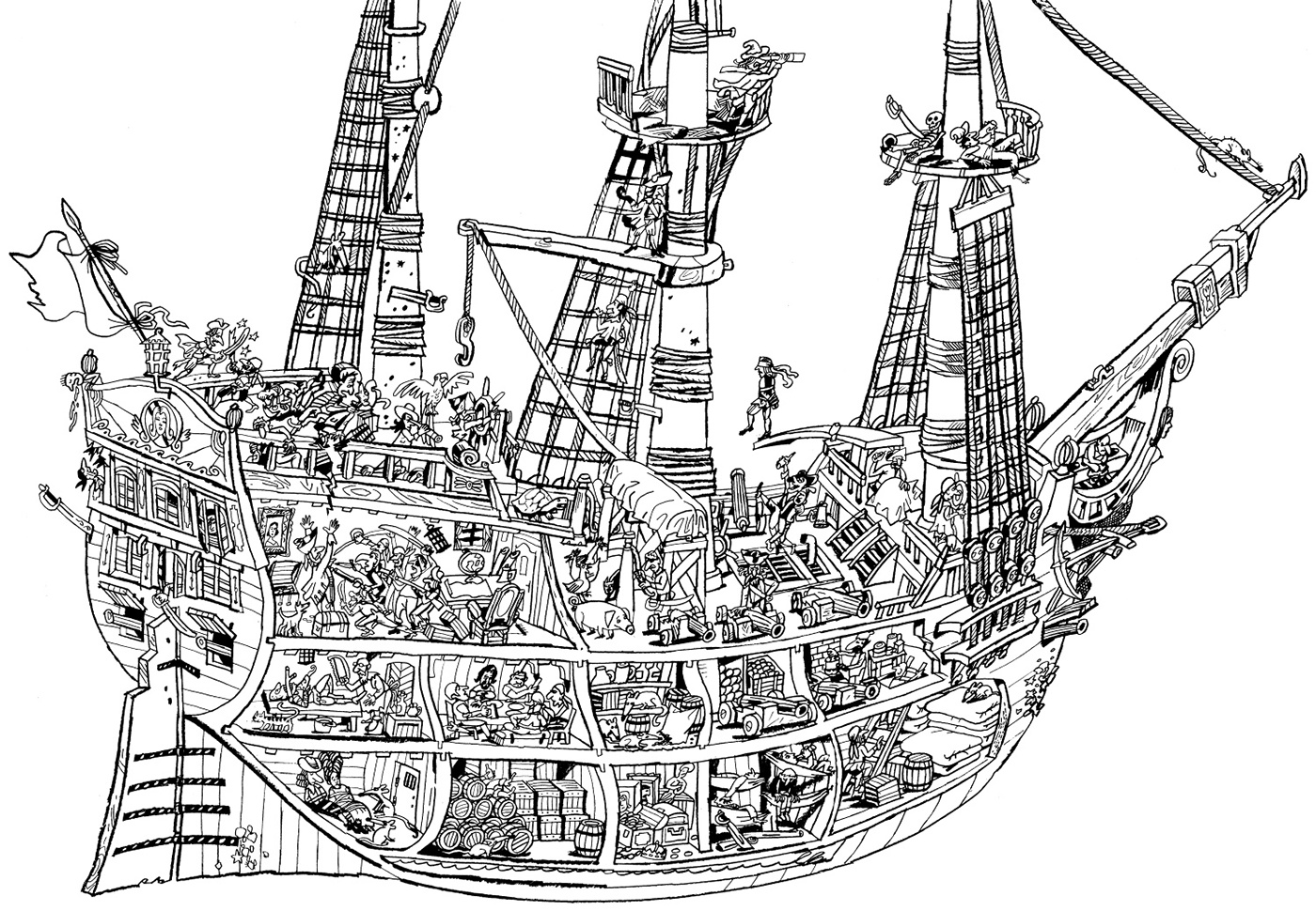 old pirate ship drawing i really like this one minus the castle should be a sunset drawing pirate ship old