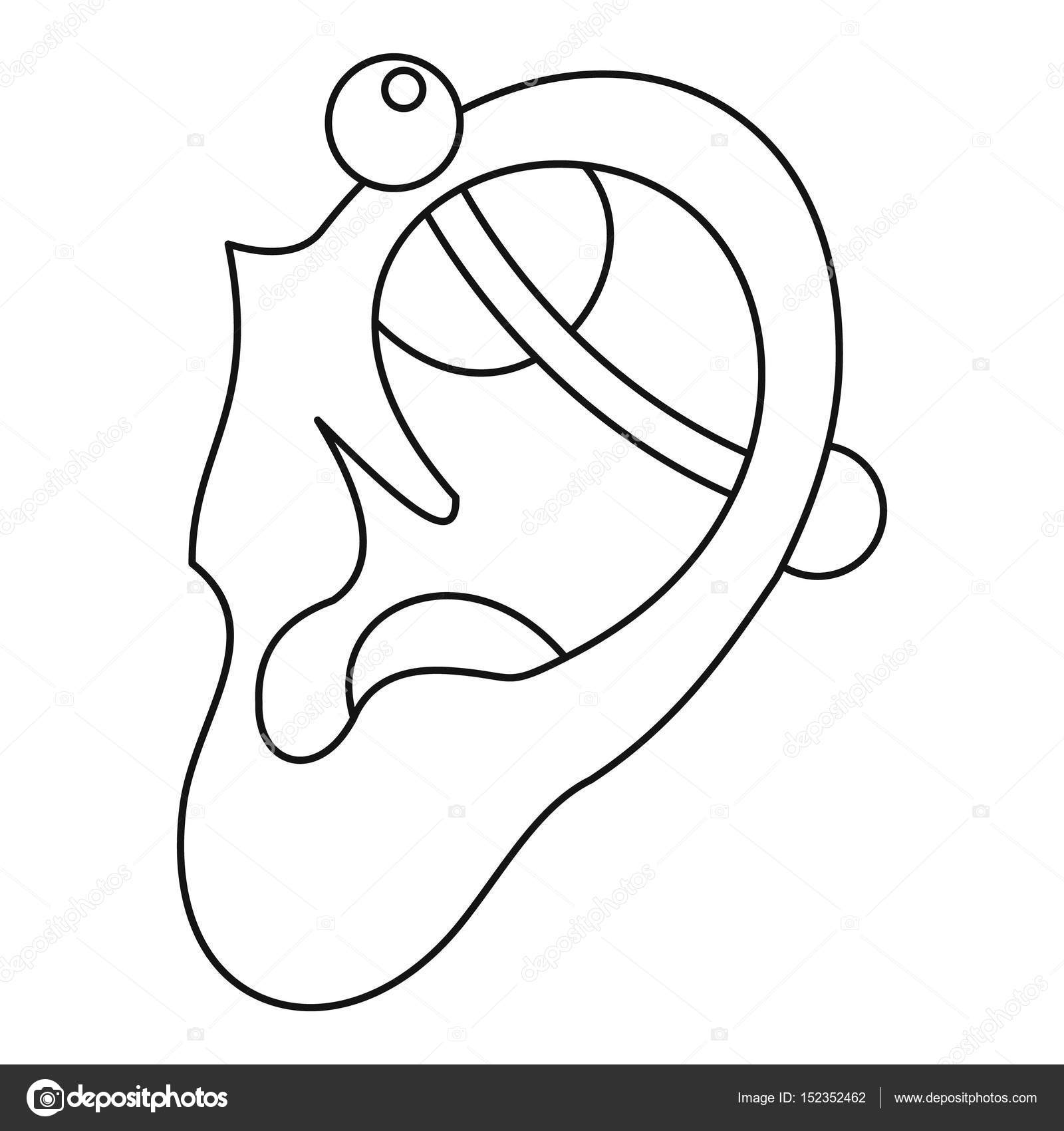 outline picture of ear human ear with piercing icon outline stock vector picture of outline ear