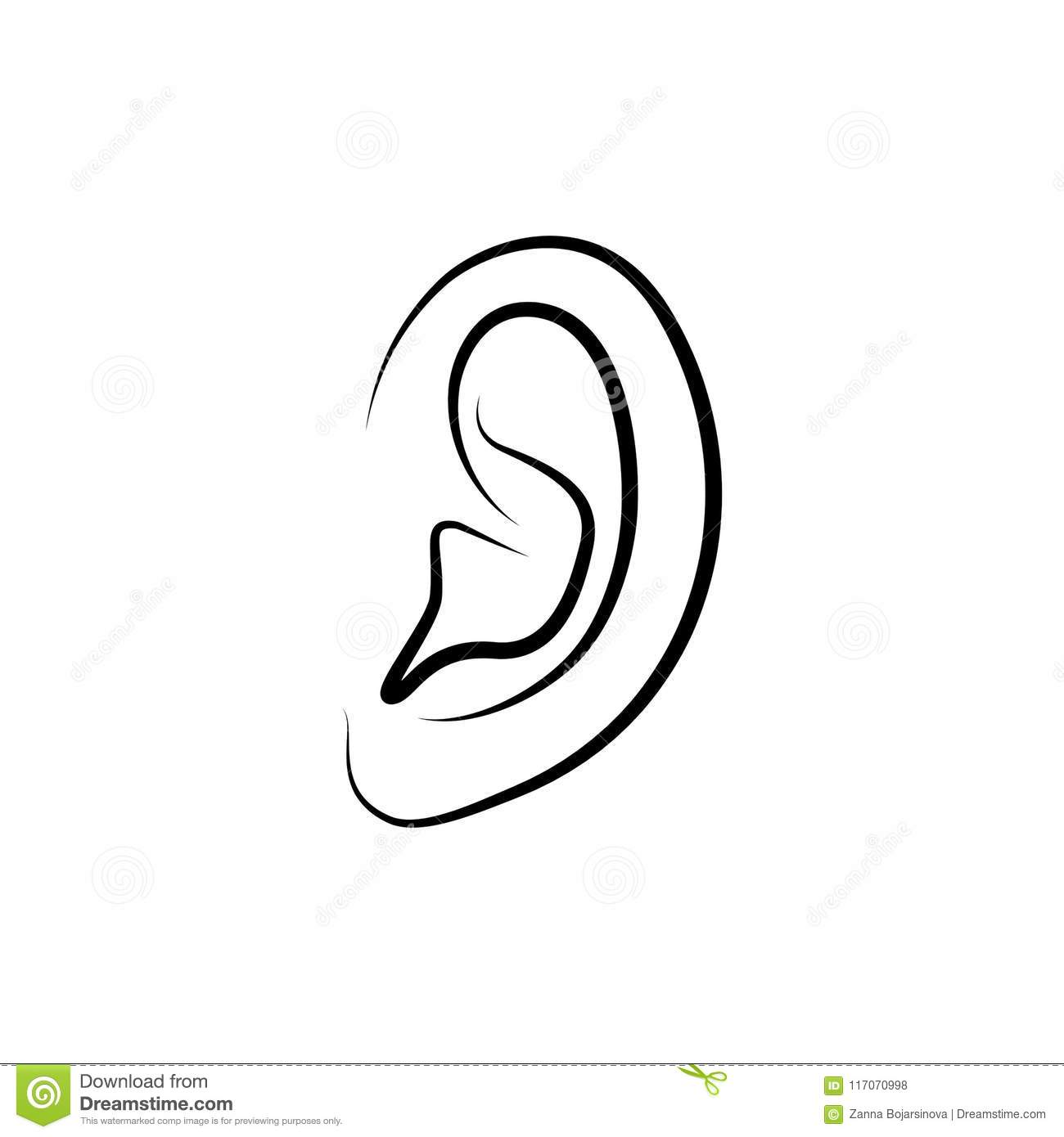 outline picture of ear outline ear icon stock vector illustration of outline picture ear of outline