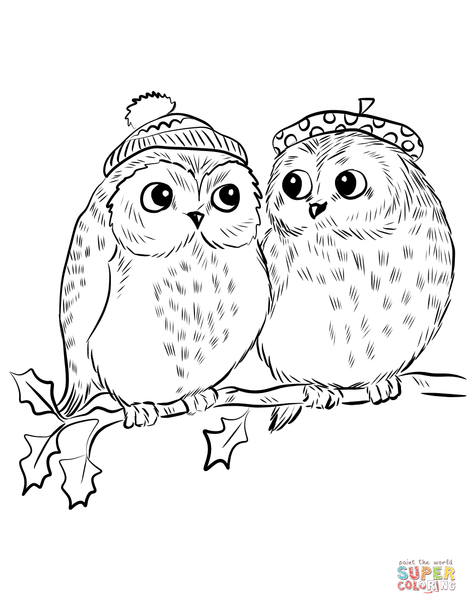 owl coloring images couple of cute owls coloring page free printable coloring owl images