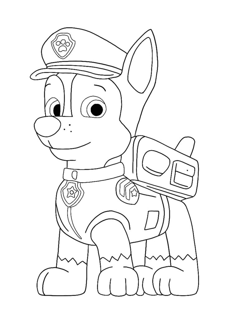 paw patrol characters paw patrol chase coloring page in 2020 paw patrol characters paw patrol
