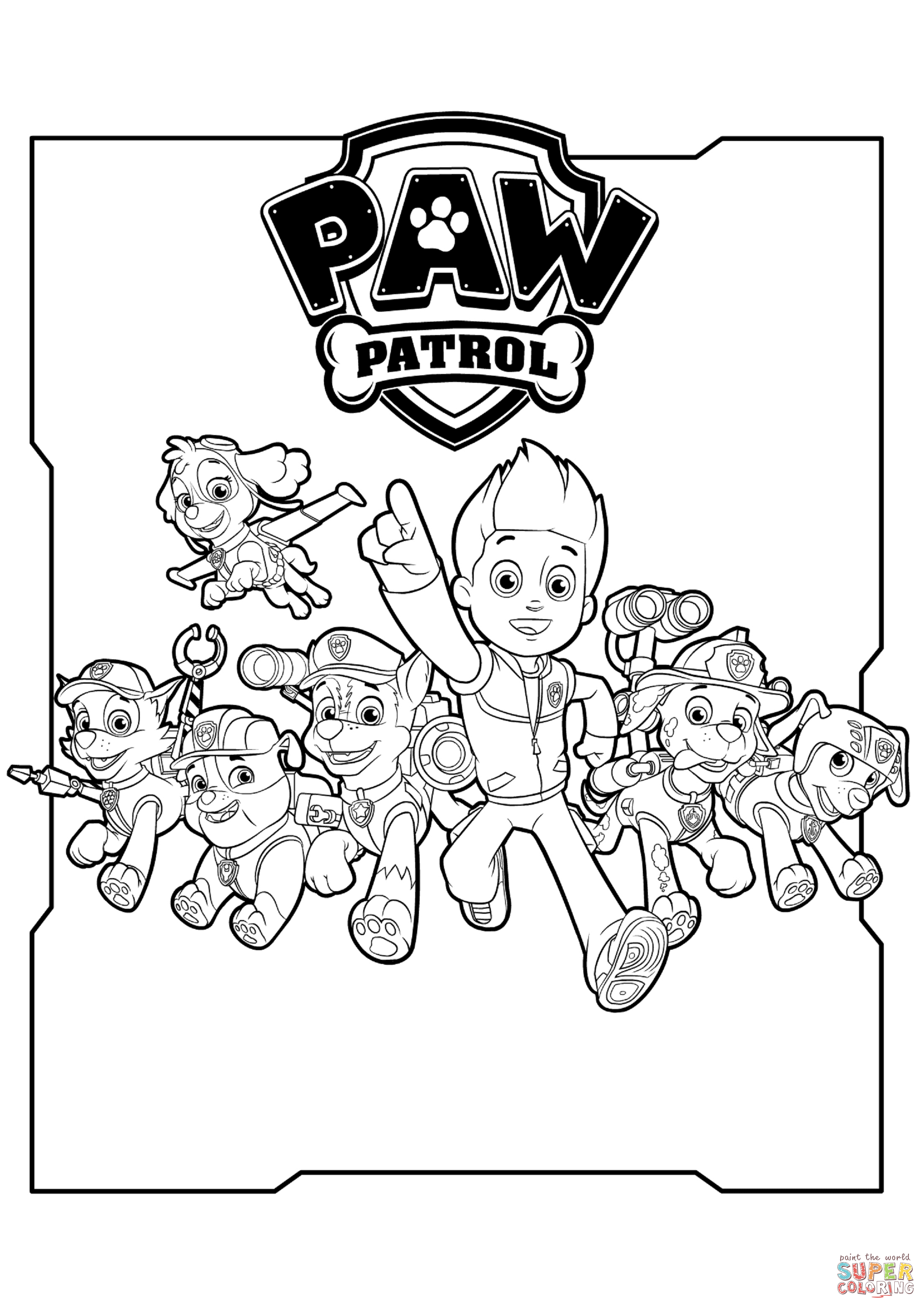 paw patrol coloring characters all paw patrol characters coloring page free printable characters patrol paw coloring