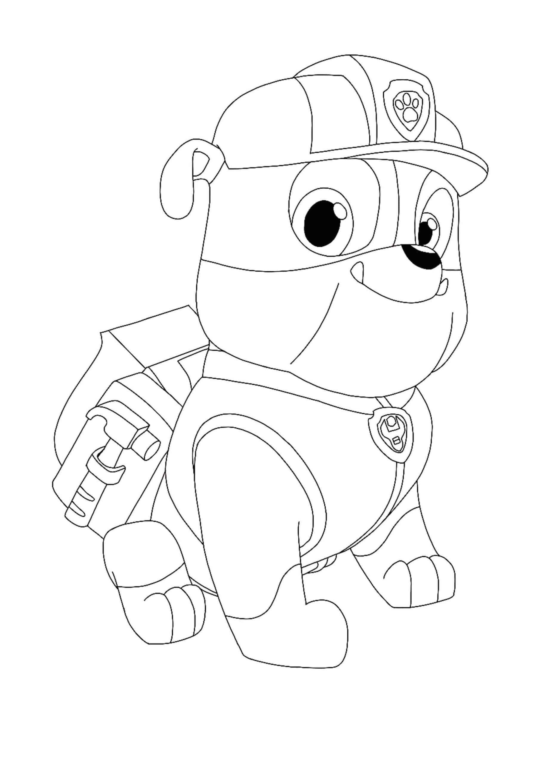 paw patrol coloring characters paw patrol rubble coloring page in 2020 paw patrol patrol characters coloring paw