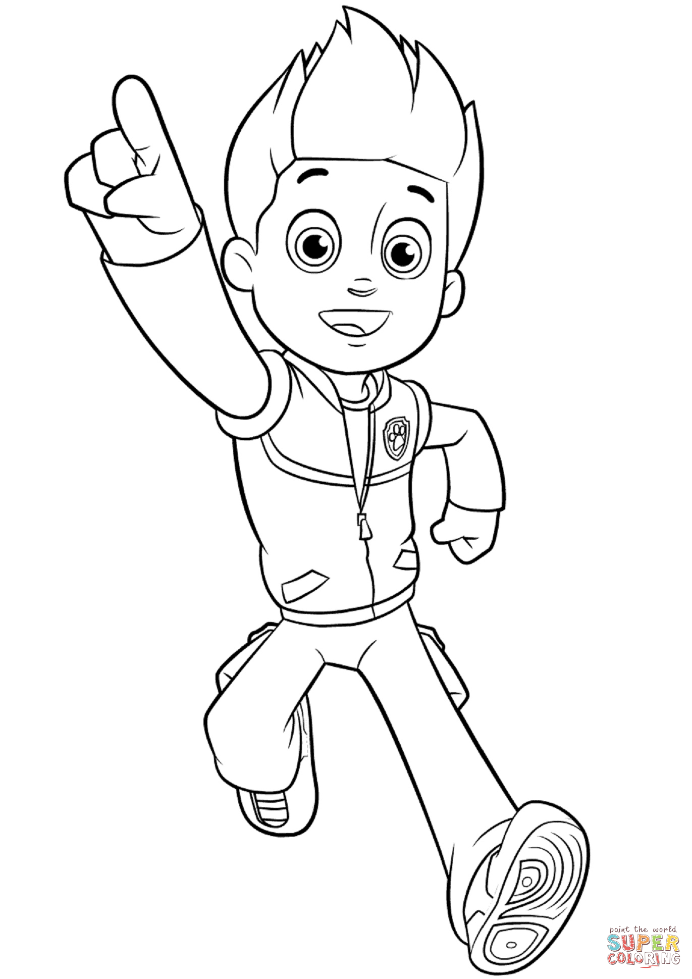 paw patrol ryder coloring paw patrol ryder sitting and happy coloring page free ryder patrol paw coloring
