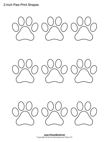 paw prints coloring pages paw print shapes 2 inch tim39s printables prints coloring paw pages