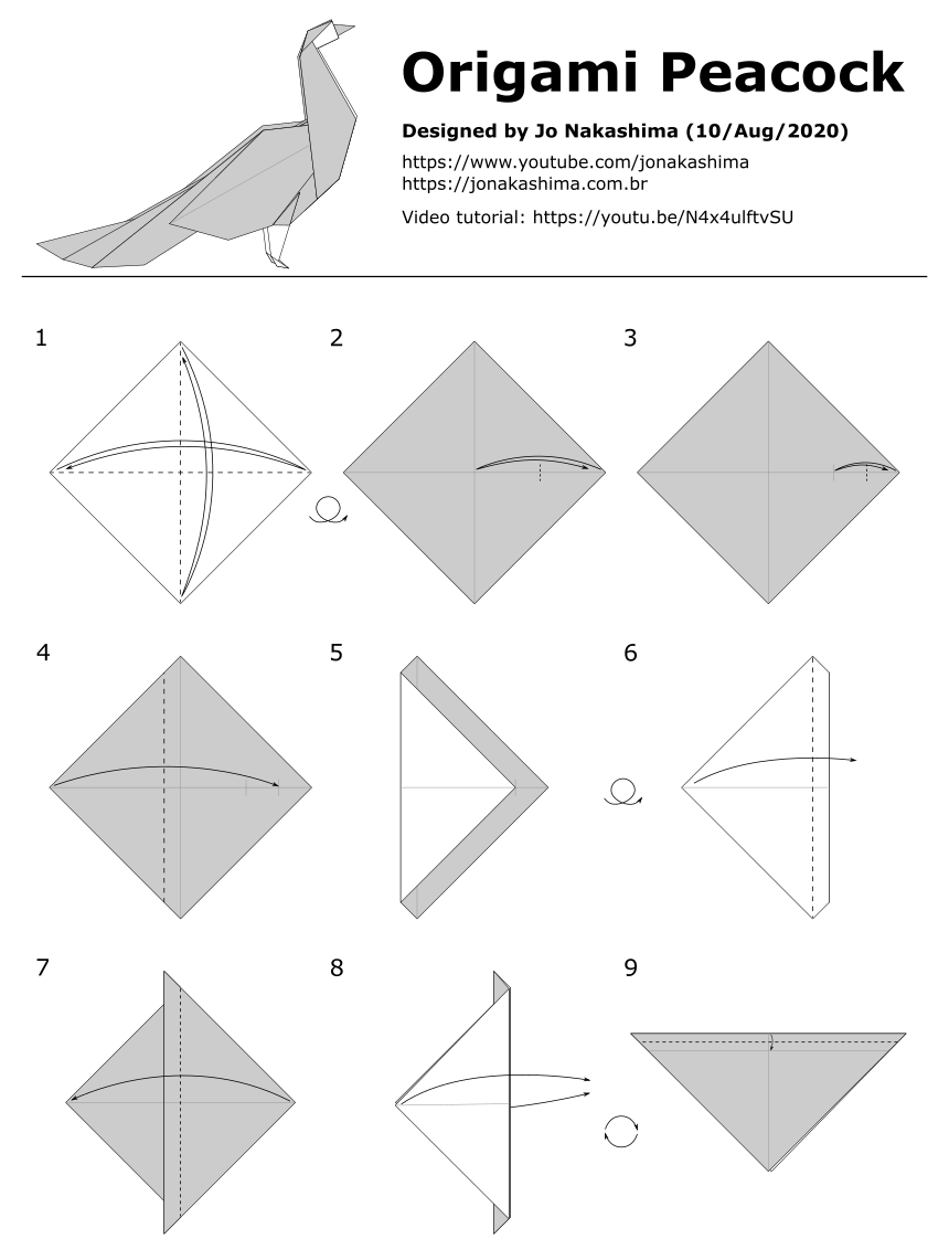 peacock step by step origami peacock jo nakashima by step peacock step