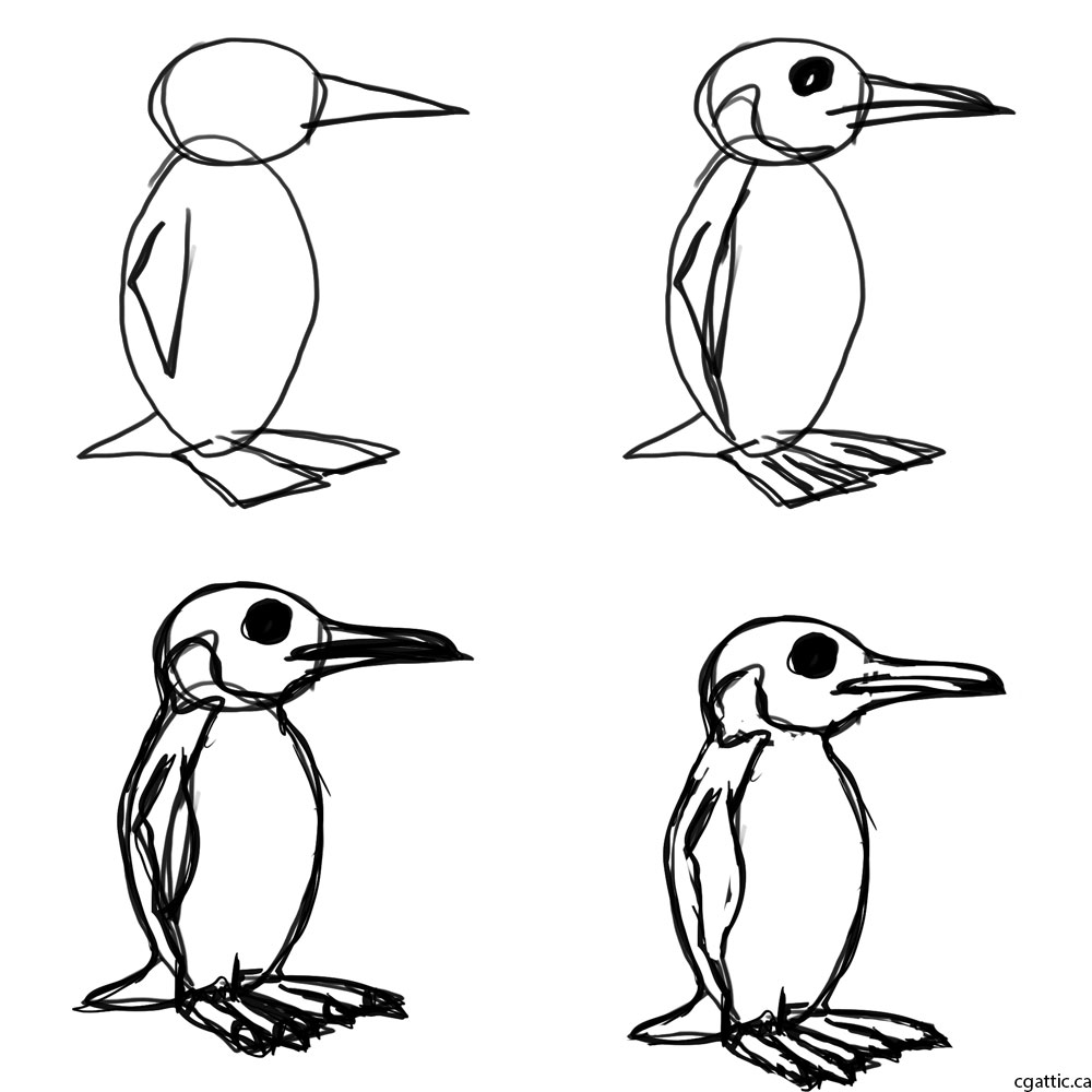 penguin drawing penguin cartoon drawing in 4 steps with photoshop drawing penguin