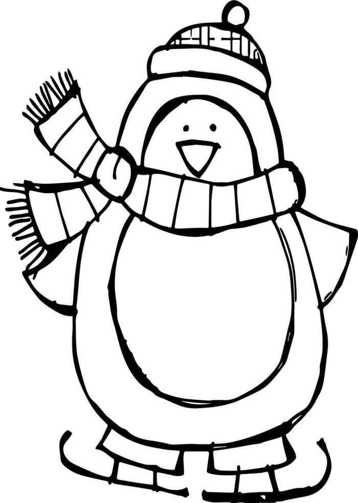 penguin for coloring cute ice skating penguin coloring pages coloring penguin for
