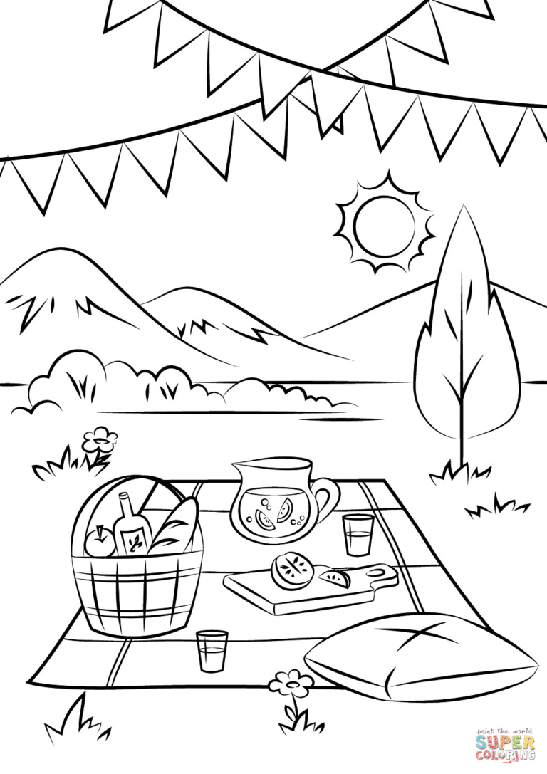 picnic table coloring page picnic table coloring page clipart panda free clipart coloring table page picnic
