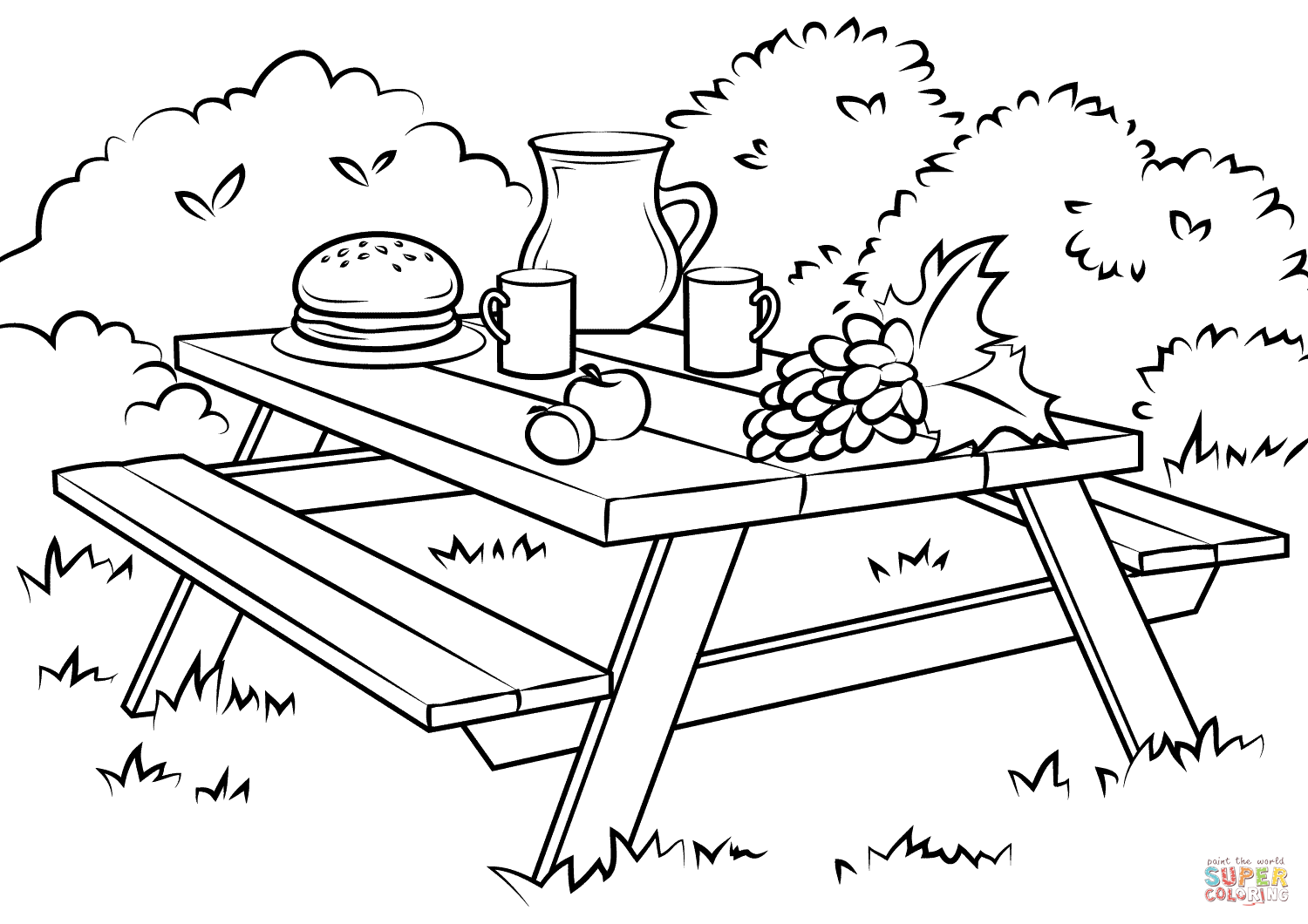 picnic table coloring page picnic table coloring page clipart panda free clipart page picnic coloring table