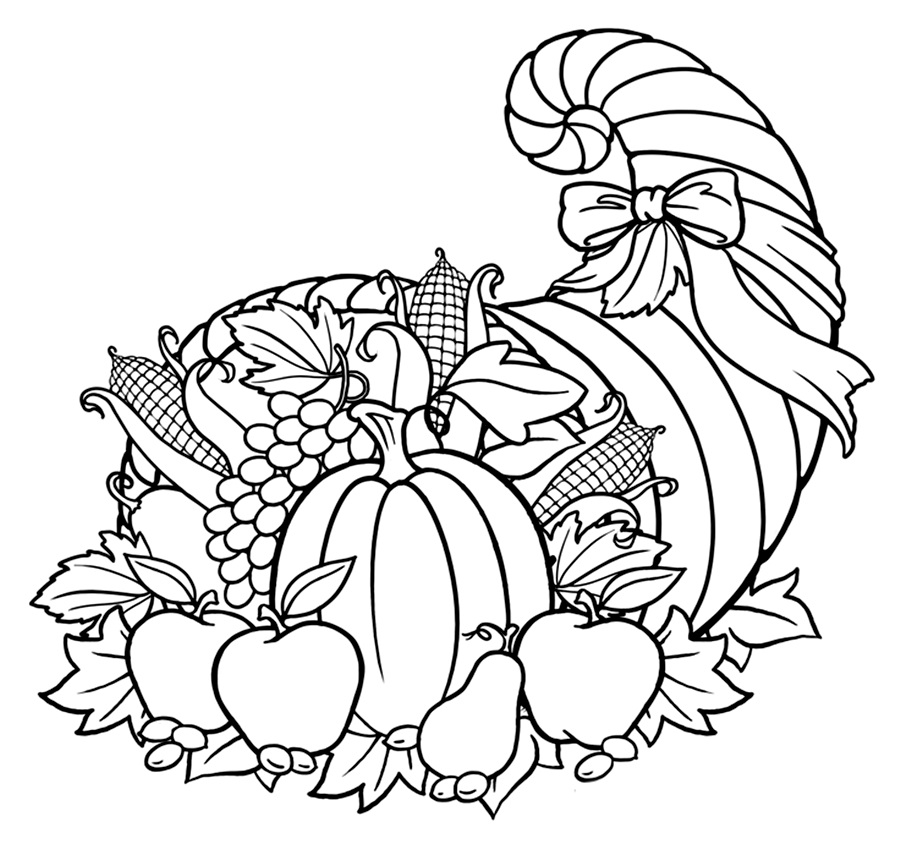 picture of cornucopia to color thanksgiving cornucopia coloring page free printable to cornucopia color picture of