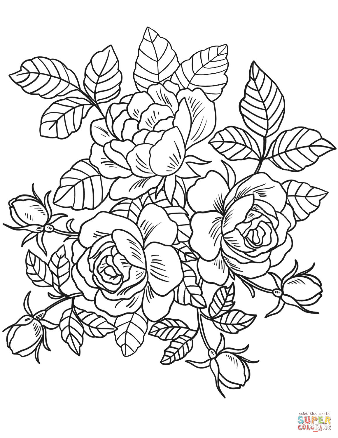 picture of flowers to colour roses flowers coloring page free printable coloring pages picture of to colour flowers
