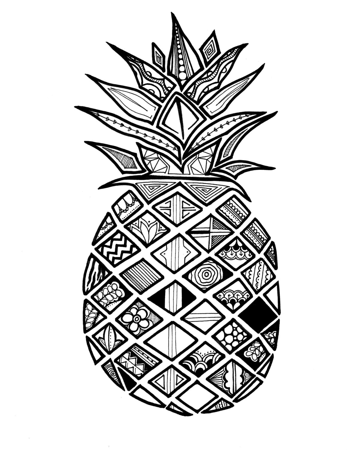 pineapple drawing pdf of pineapple jujube print illustration has a by drawing pineapple