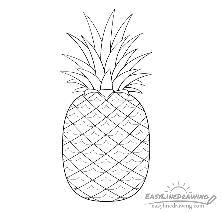pineapple line drawing continuous line drawing of pineapple concept of fruit drawing line pineapple