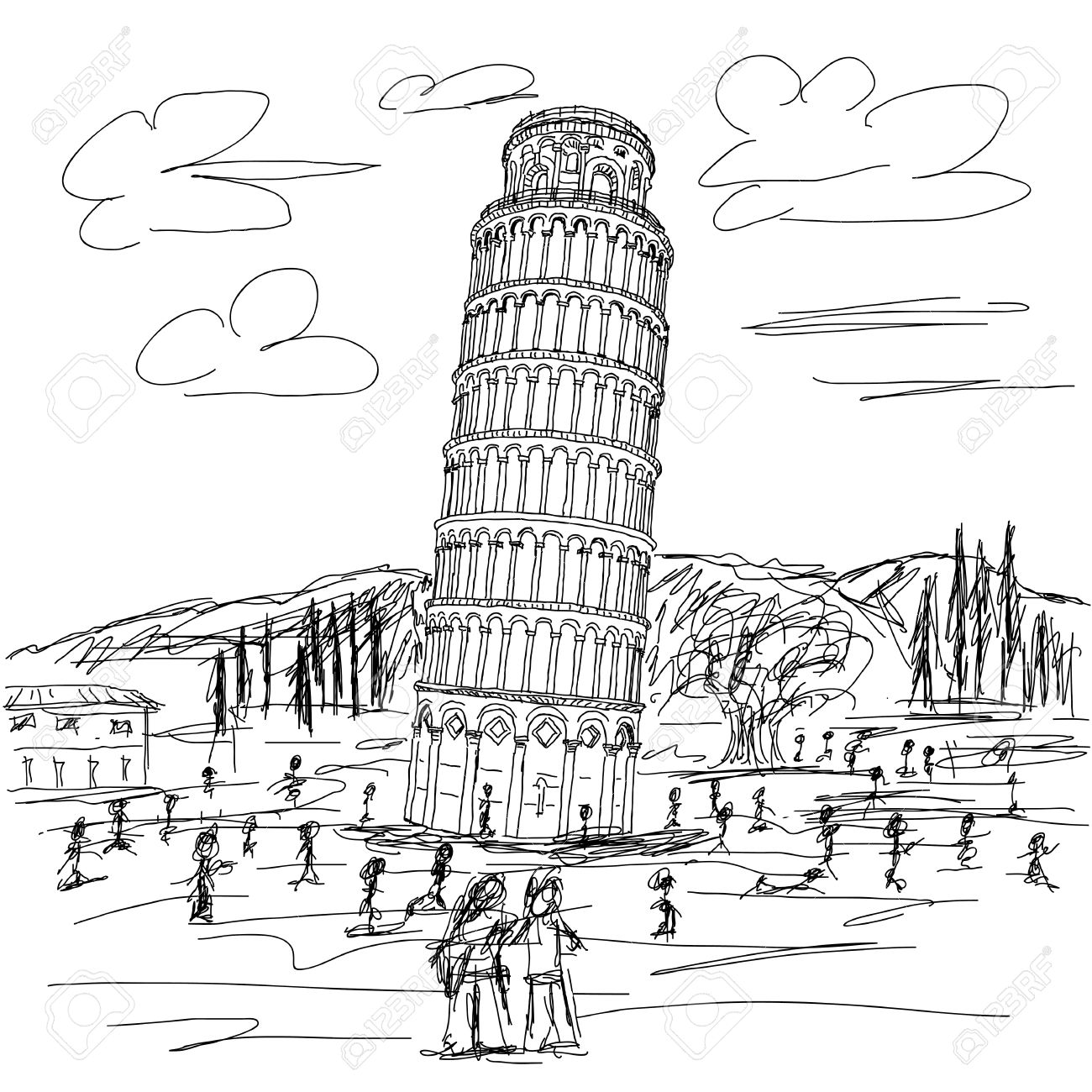 pisa drawing antique illustration of leaning tower of pisa stock pisa drawing