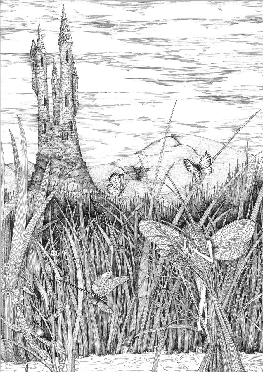 pond coloring pages dragonfly pond by ellfi in 2019 adult coloring pages coloring pond pages