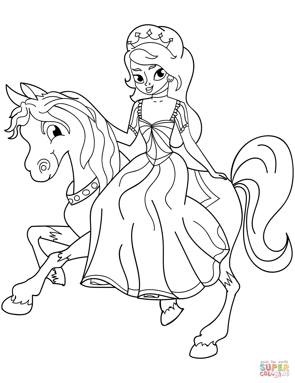 princess on horse coloring pages the princess riding on her horse coloring pages printable on princess coloring horse pages