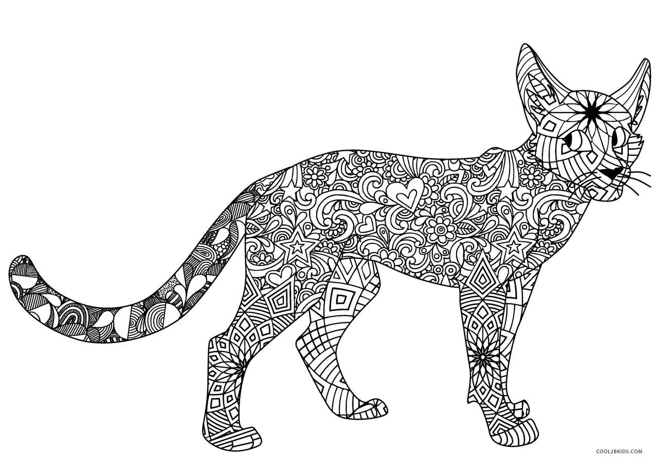 printable cat coloring pages christmas cat line art free clip art coloring pages printable cat
