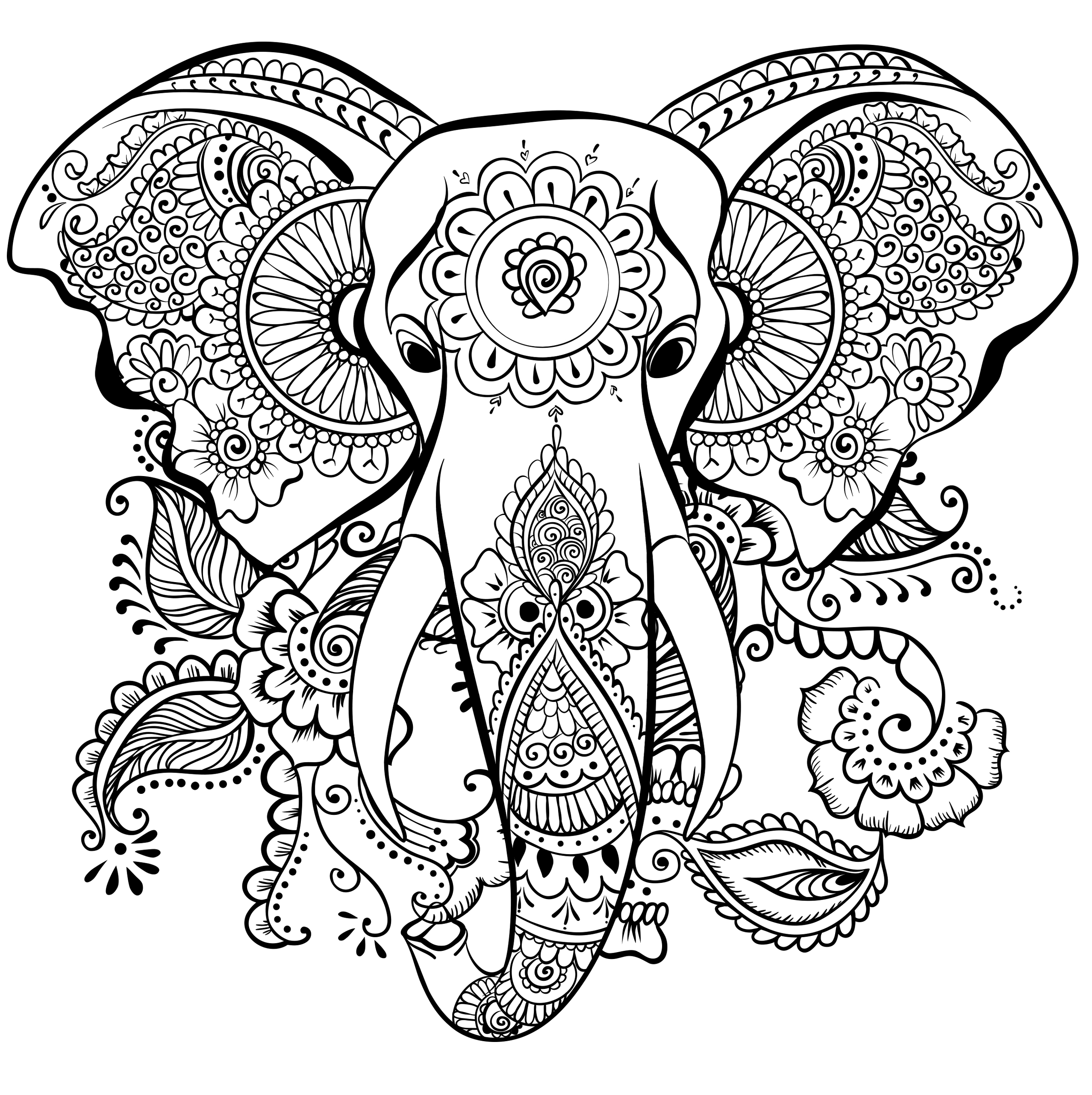 printable elephant coloring pages elegant drawing of an elephant elephants adult coloring pages printable elephant coloring