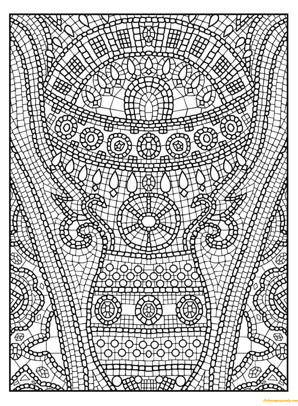 printable mosaic coloring book pages floral mosaic coloring page download print online coloring book mosaic printable pages